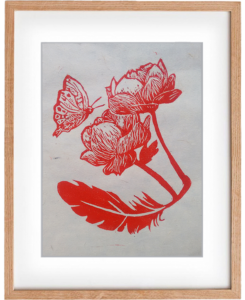 Feather, Flower And Butterfly – Handmade Original Woodcut Print, Wall Art