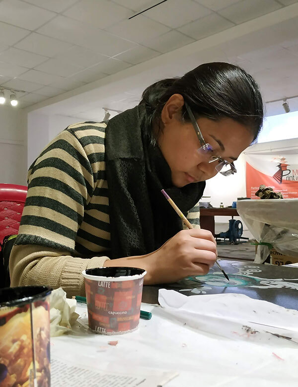 Sudesha-working-printmaking-nepal